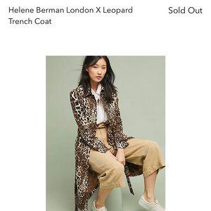 Anthropologie Helene Bergman leopard trench